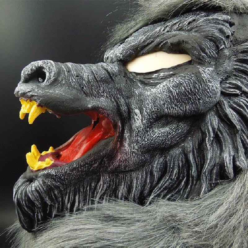Yeduo Hot Sale Latex Animal Wolf Head Mask with Hair Halloween Party Fancy Scary Dress Costume Horror Anonymous Face Masks - COLORMIX