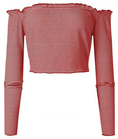 Striation One Word Led Brief Paragraph Crop Top - RED L