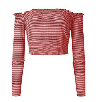 Striation One Word Led Brief Paragraph Crop Top - RED RED