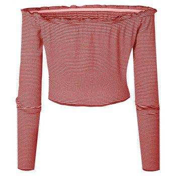 Striation One Word Led Brief Paragraph Crop Top - RED M