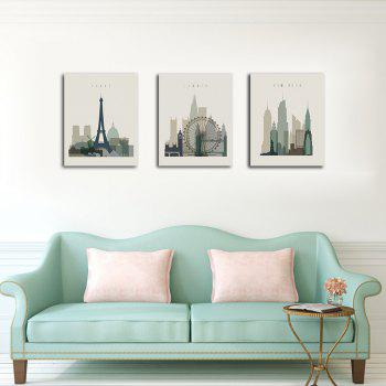 Hx-Art No Frame Canvas Triple Architectural Living Room Decoration Hanging Painting - COLORMIX 50CMX70CMX3