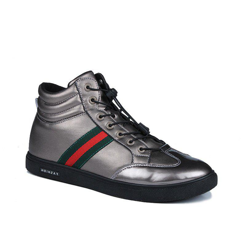 Men Casual Leather Shoes Flat Lace-Up - SILVER 44