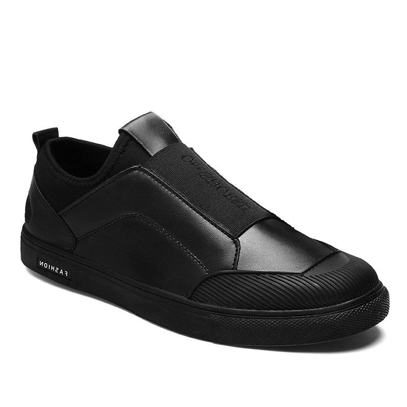 Patchwork Elastic Band Slip-On Casual Shoes - BLACK 42