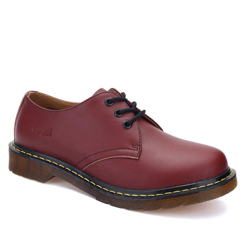 Couple Shoes Martin Working Fashion British Flats Classic Leather Shoes CHERRY RED