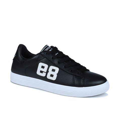 Solid Color Letter Men's Sneakers - BLACK 40