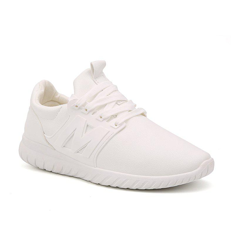 Solid Color Lace-Up Letter Men's Sport Shoes - WHITE 43