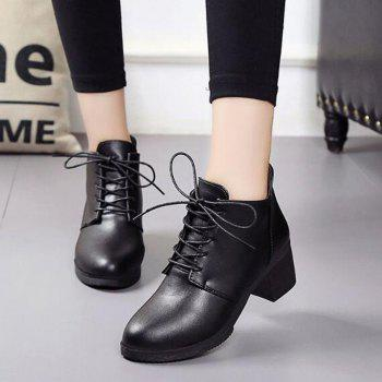 Solid Color Lace-Up High Heel Ankle Boots - BLACK BLACK