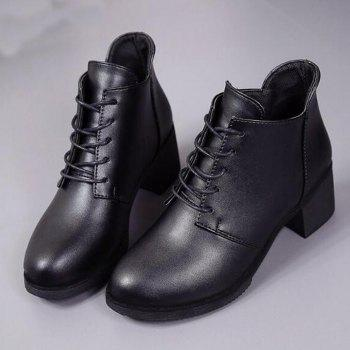 Solid Color Lace-Up High Heel Ankle Boots - BLACK 35