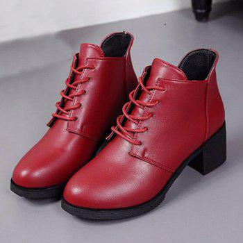 Solid Color Lace-Up High Heel Ankle Boots - RED 38