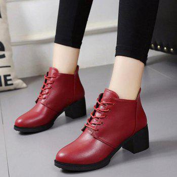 Solid Color Lace-Up High Heel Ankle Boots - RED 36