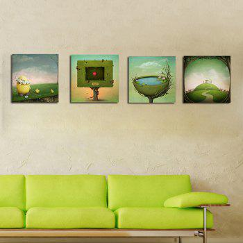 Hx-Art No Frame Canvas Four Piece of Fantastic Modern Living Room Decoration Painting - COLORMIX 40CMX40CNX4