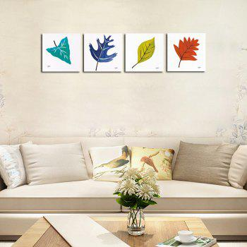 Hx-Art No Frame Canvas Simple Leaves Four Sets of Painting The Living Room Decoration - COLORMIX COLORMIX