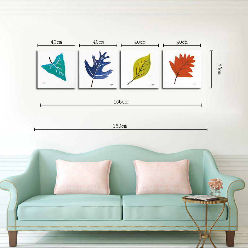 Hx-Art No Frame Canvas Simple Leaves Four Sets of Painting The Living Room Decoration - COLORMIX 40CMX40CMX4