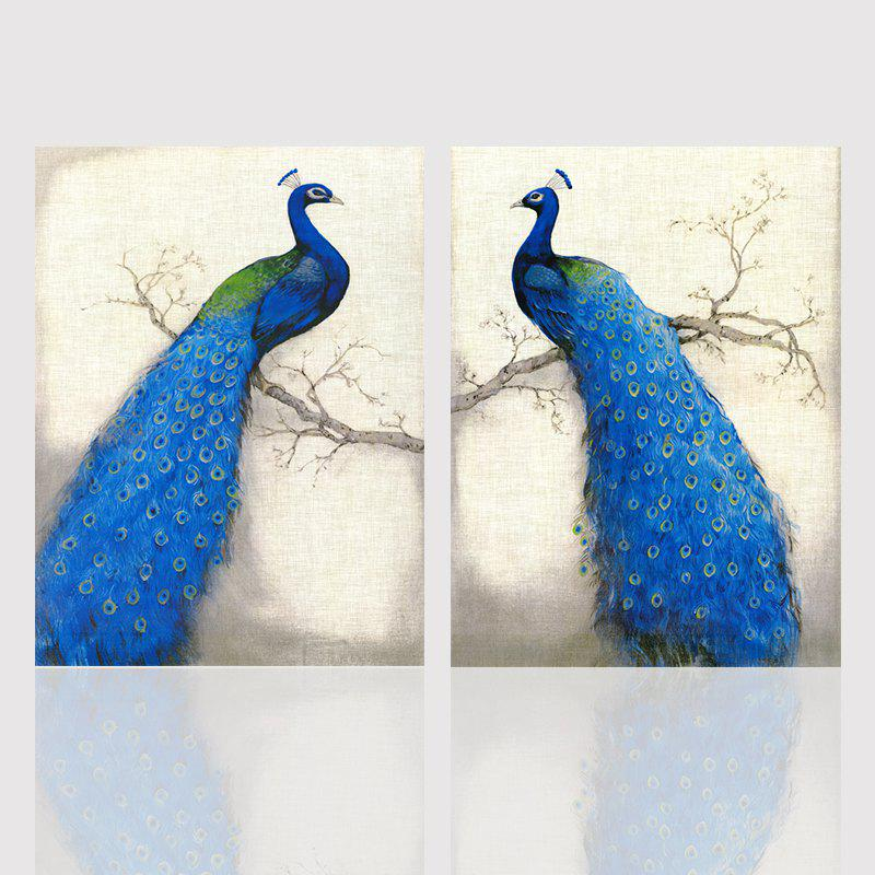 Hx-Art No Frame Canvas Animal Peacock Room Twin-Decorative Painting - COLORMIX 60CMX80CMX2