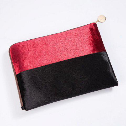 Color Block Velvet Zipper Clutch - RED / BLACK