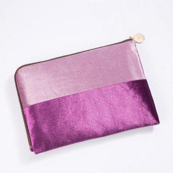 Color Block Velvet Zipper Clutch - PURPLE PURPLE