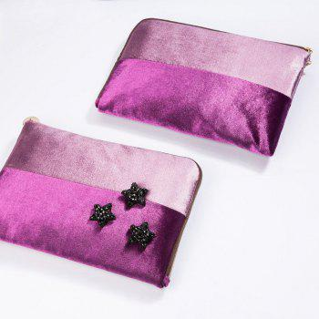 Color Block Velvet Zipper Clutch -  PURPLE