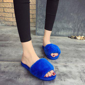2017 Wool Flat Cotton Slippers - BLUE BLUE