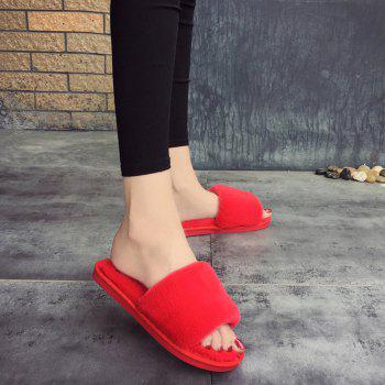 2017 Wool Flat Cotton Slippers - RED RED