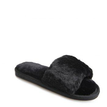 2017 Wool Flat Cotton Slippers - BLACK 38