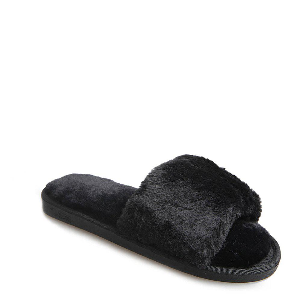 2017 Wool Flat Cotton Slippers - BLACK 37