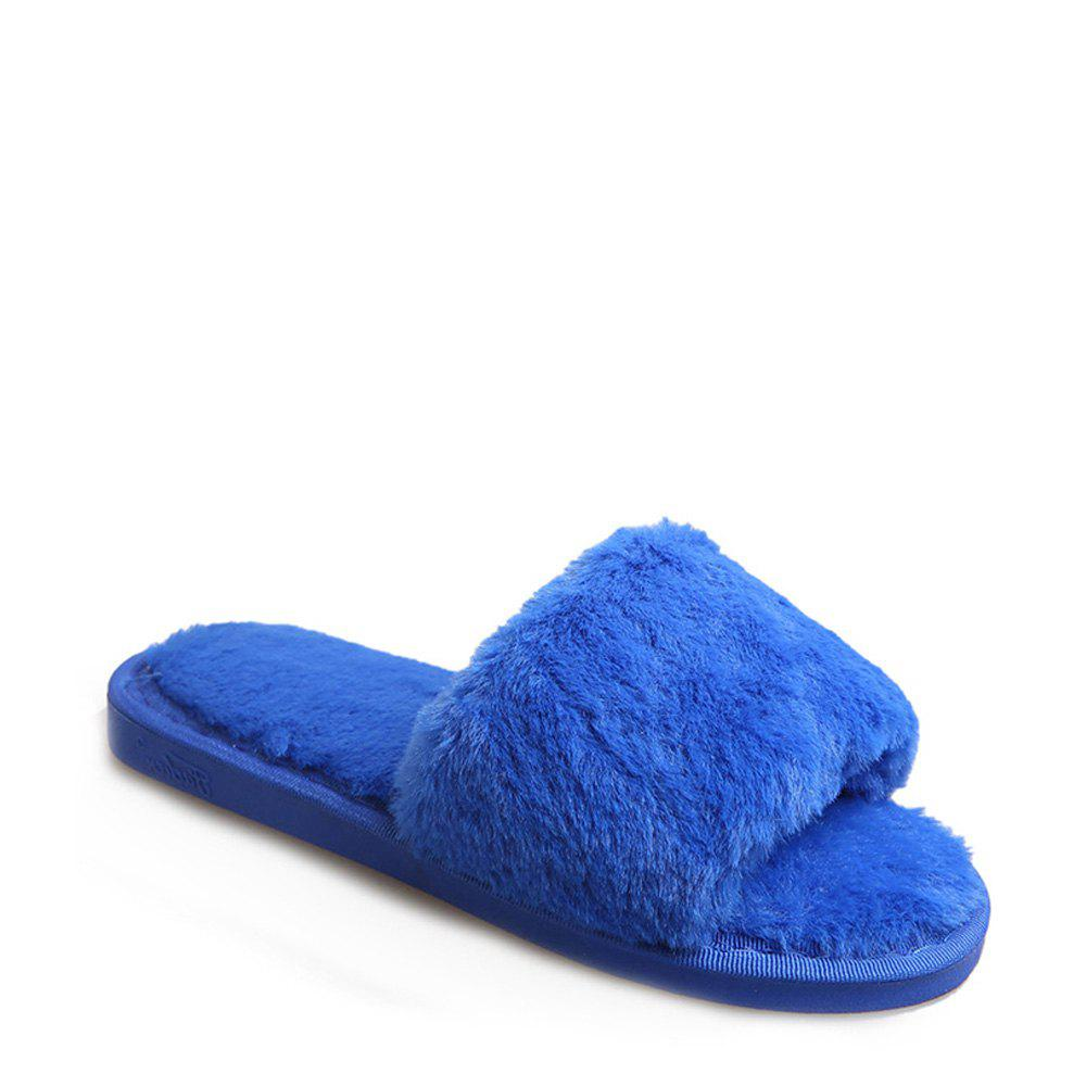 2017 Wool Flat Cotton Slippers - BLUE 37