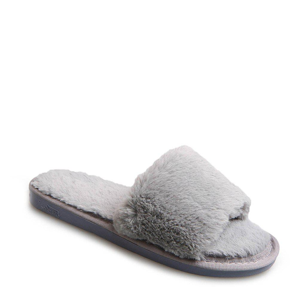 2017 Wool Flat Cotton Slippers - OYSTER 36