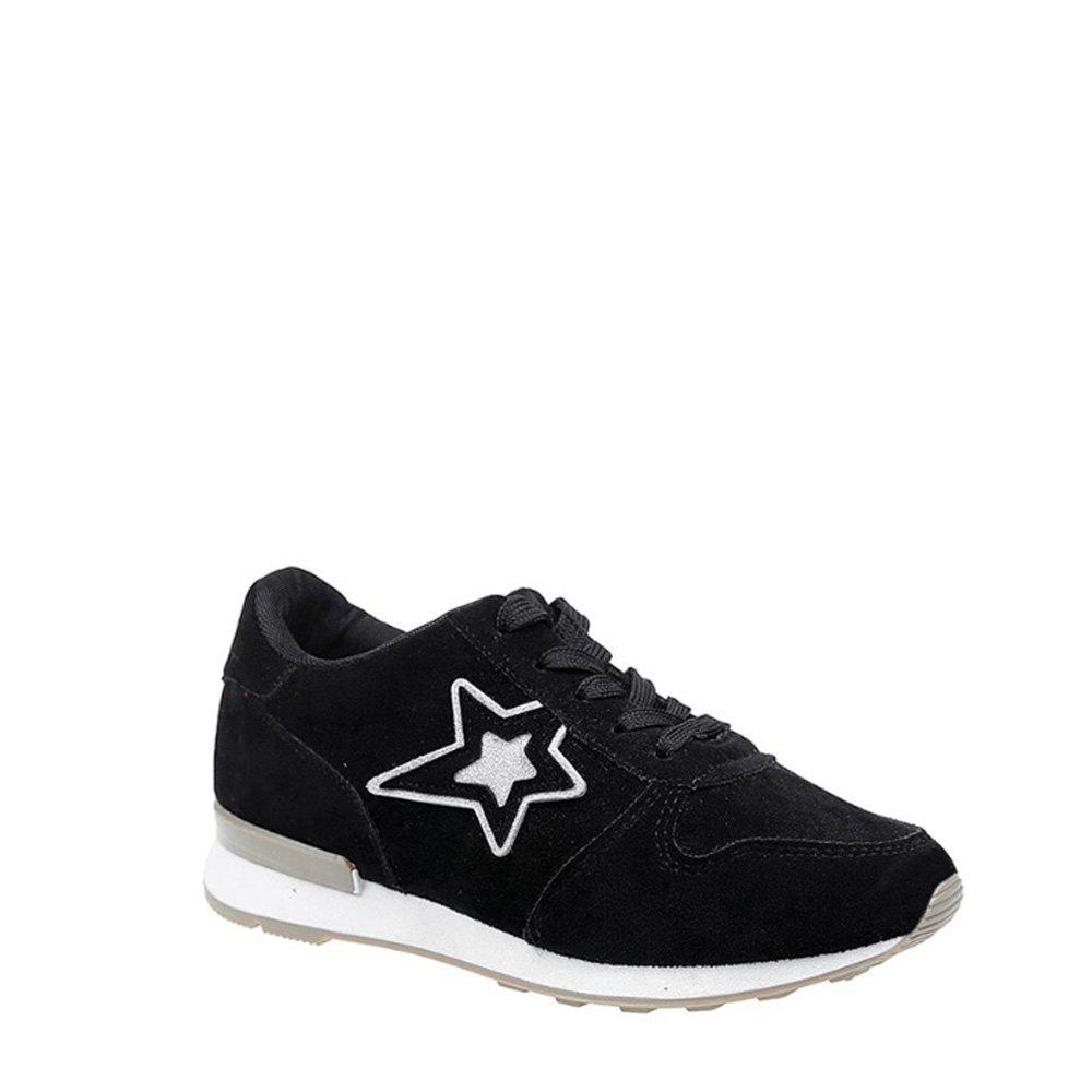 Star Pattern Solid Color Sport Shoes - BLACK 39