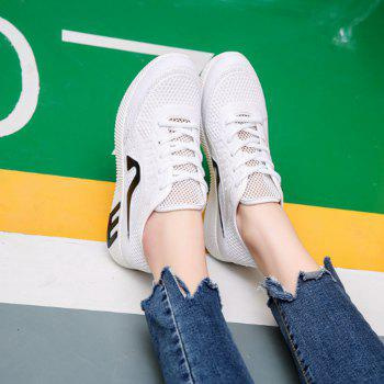 Hollow Out Color Block Casual Shoes - WHITE WHITE