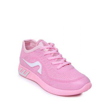 Hollow Out Color Block Casual Shoes - PINK 36