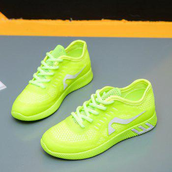 Hollow Out Color Block Casual Shoes - NEON GREEN NEON GREEN