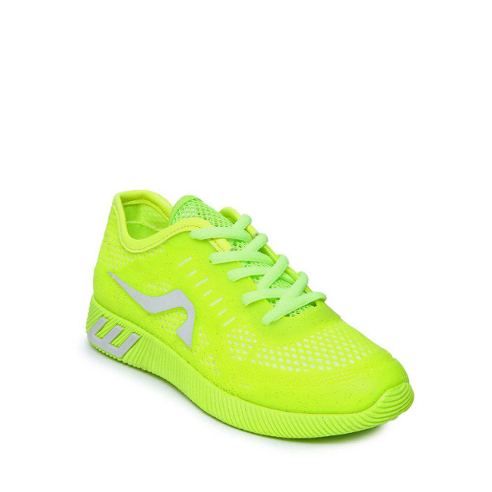 Hollow Out Color Block Casual Shoes - NEON GREEN 40