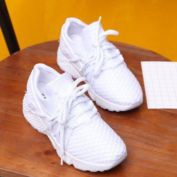 Breathable Solid Color Lace-Up Sport Shoes - 38 38