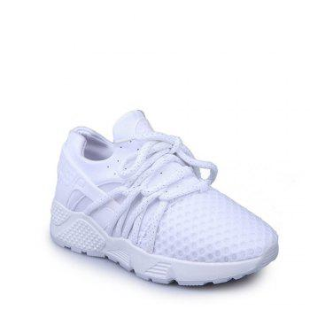 Breathable Solid Color Lace-Up Sport Shoes - WHITE 38
