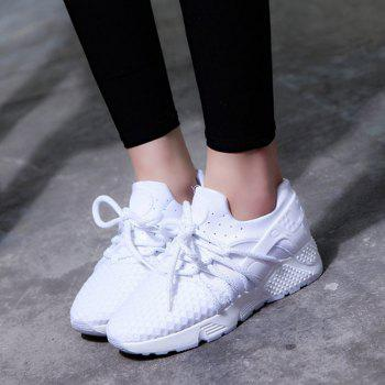 Breathable Solid Color Lace-Up Sport Shoes - WHITE WHITE