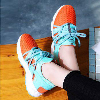 Breathable Solid Color Lace-Up Sport Shoes - 37 37
