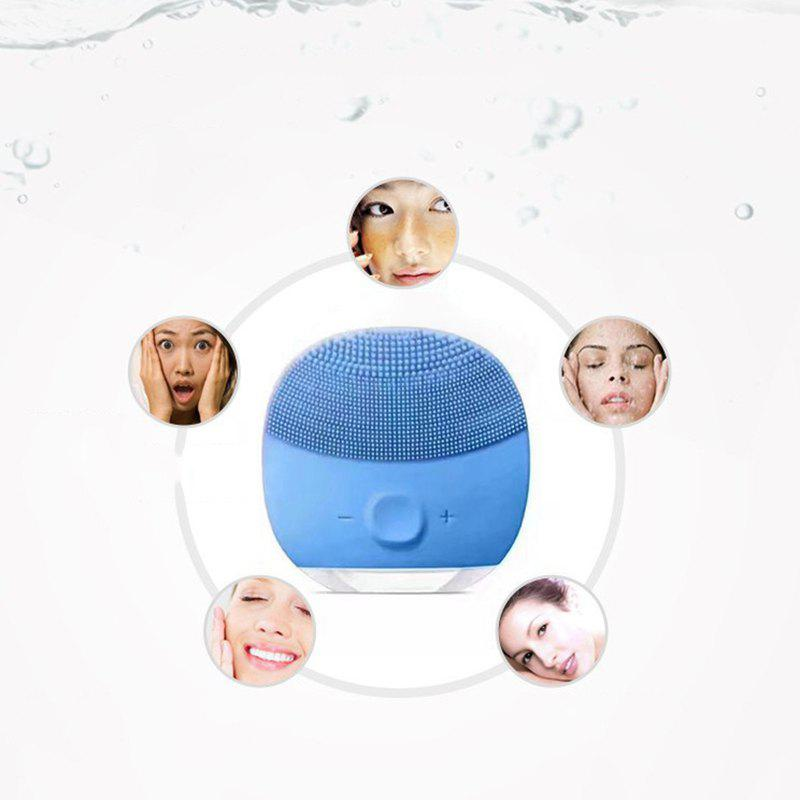 Silicone Gel Face Vibrating Massager Waterproof Charging Beauty Face Care Cleaner Cleaning Machine Facial Massagetools - BLUE BONNET