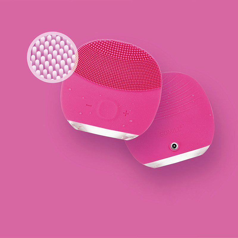 Silicone Gel Face Vibrating Massager Waterproof Charging Beauty Face Care Cleaner Cleaning Machine Facial Massagetools - ROSE RED