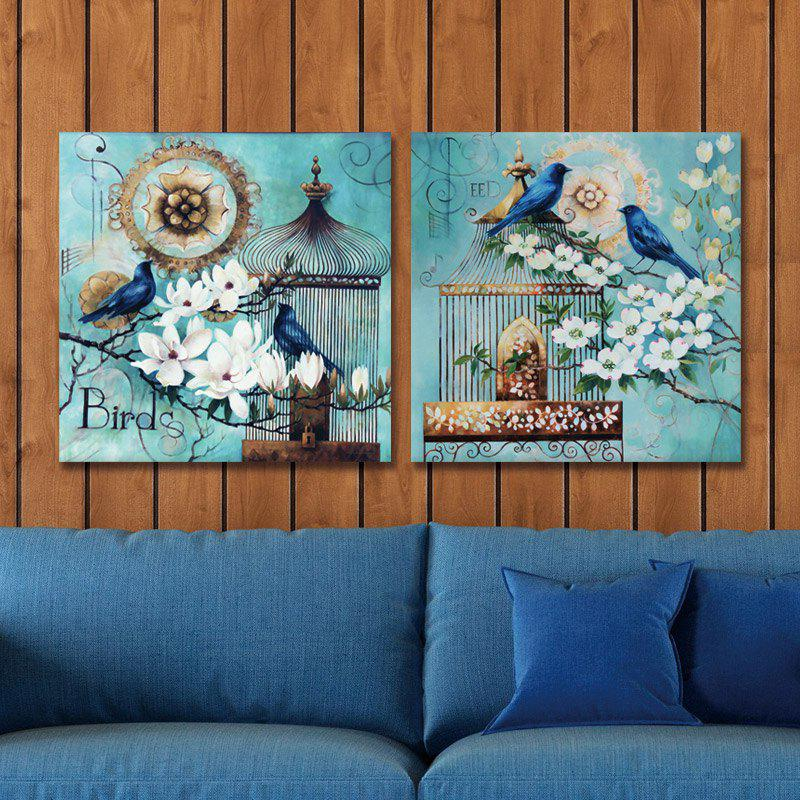 Dyc 10008 2PCS Flowers And Birds Print Art Home Decoration Ready To Hang Paintings - COLORMIX