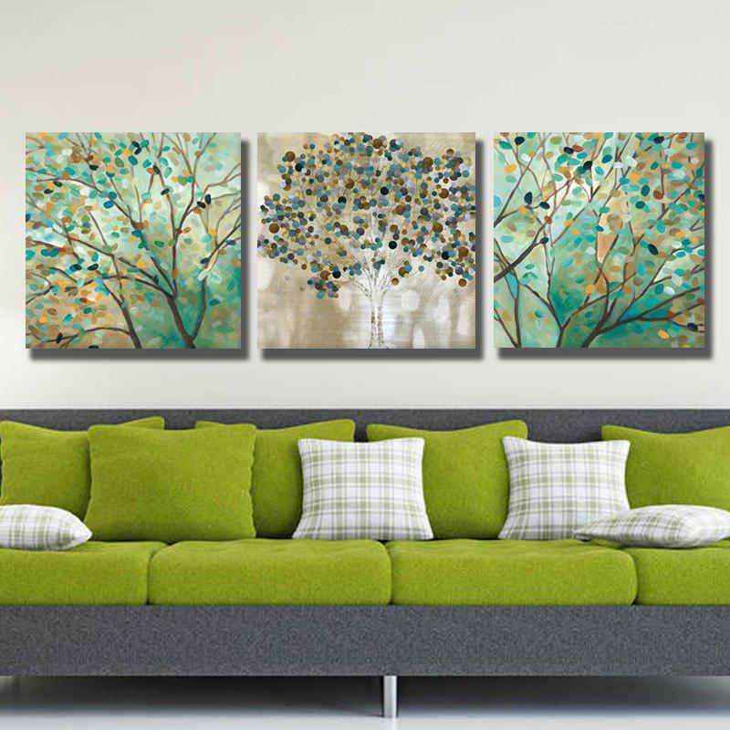 Dyc 10009 3PCS Abstract Trees Prtint Peinture d'art prête à accrocher des peintures - multicolore