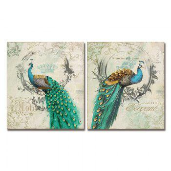 Dyc 10011 2PCS Peacocks Canvas Print prêt à accrocher des peintures - multicolorcolore