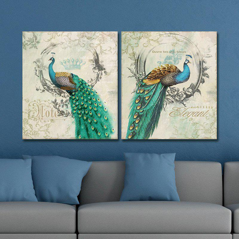 Dyc 10011 2PCS Peacocks Canvas Print ready To Hang Paintings - COLORMIX