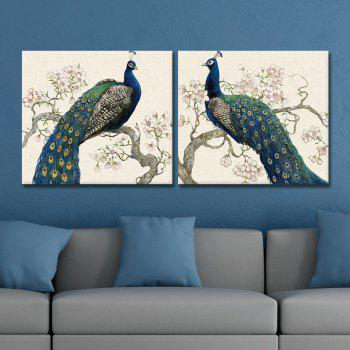 Dyc 10012 2PCS Blue Peacock Print Art Ready To Hang Paintings - COLORMIX COLORMIX