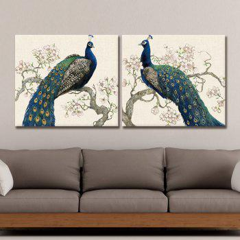 Dyc 10012 2PCS Blue Peacock Print Art Ready To Hang Paintings -  COLORMIX