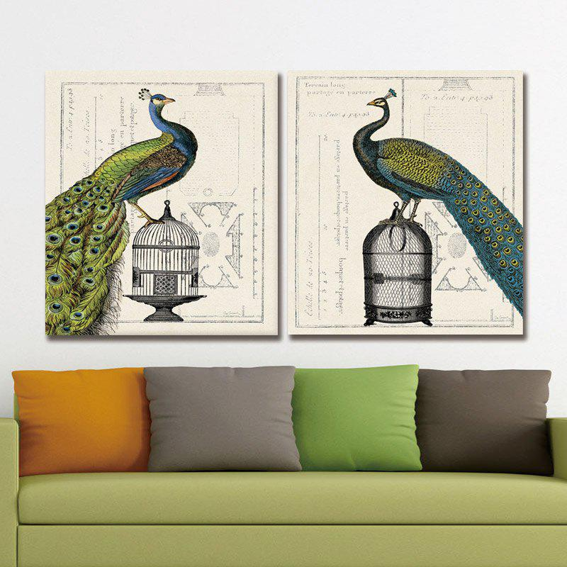 Dyc 10013 2PCS Green Peacocks Print Art Ready To Hang Paintings - COLORMIX