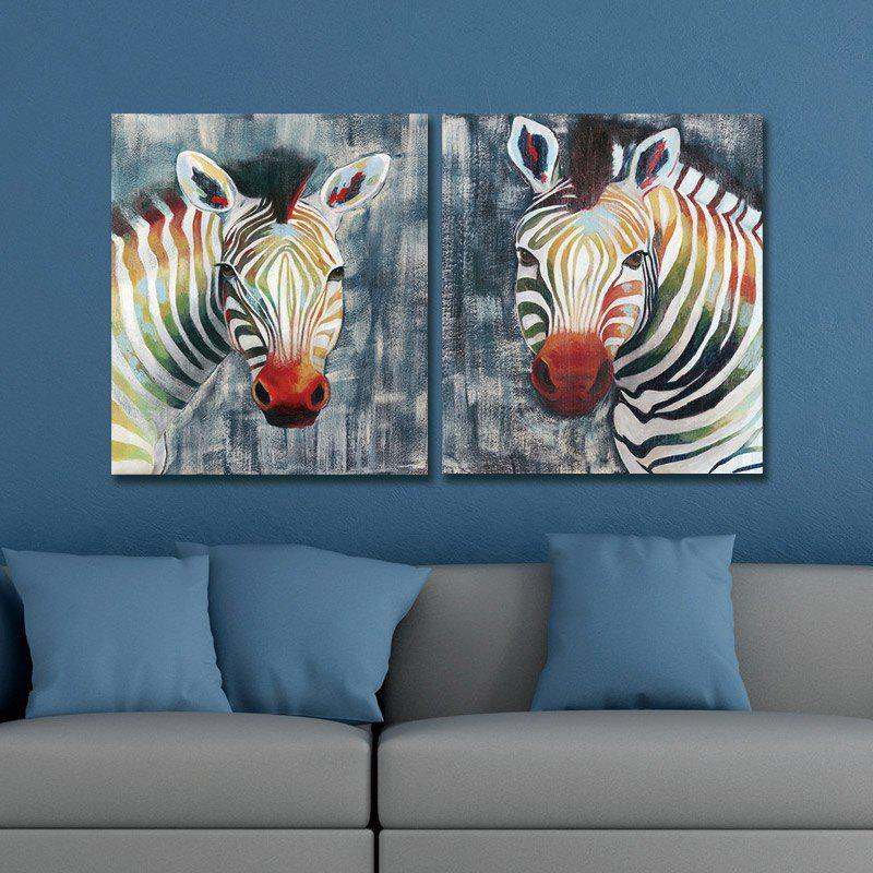 Dyc 10014 2 Pcs Color Zebras Canvas Print Art Ready To Hang Paintings - COLORMIX