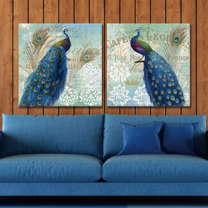 Dyc 10016 2PCS Blue Peacocks Canvas Print Art Ready To Hang Paintings - COLORMIX