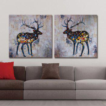 Dyc 10017 2PCS Deers Canvas Print Art Ready To Hang Paintings - COLORMIX COLORMIX