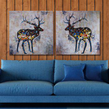 Dyc 10017 2PCS Deers Canvas Print Art Ready To Hang Paintings -  COLORMIX