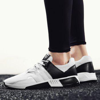 Color Block Lace-Up Sport Shoes - BLACK BLACK